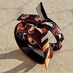 Annee bracelet double cuir caramel et soie orange