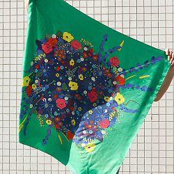 Année carré de soie Bouquet vert gazon made in France
