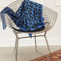 Année carré de soie Leopard bleu électrique