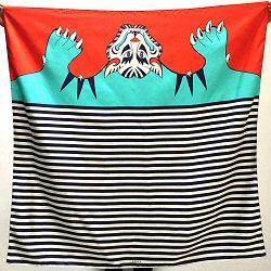 Année carré de soie Tigris 110cm Tigre turquoise rouge made in France