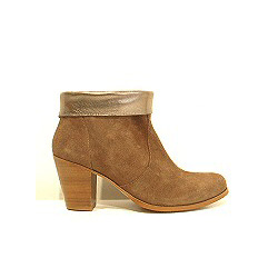 Anonymous boots daim taupe revers métal