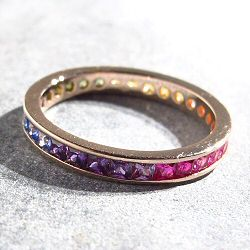 Bali Temples bague bande plaqué or rose strass rainbow