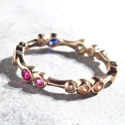 Bali Temples bague brindille plaqué or rose strass rainbow