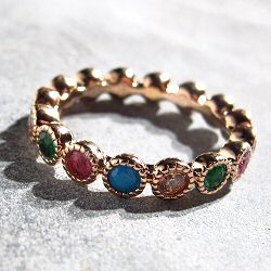 Bali Temples bague Dots plaque or rose strass rainbow