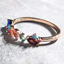 Bali Temples bague Galaxy plaqué or rose strass rainbow