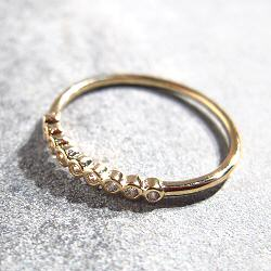 Bali Temples bague Nine dore strass clear