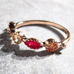 Bali Temples bague Griffe plaqué or rose strass rainbow