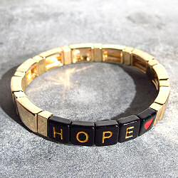 Bali Temples bracelet Ava HOPE noir gold