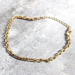 Bali Temples bracelet chaine Tube plaque or