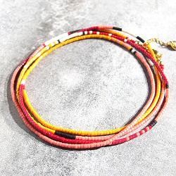 Bali Temples bracelet 4tours perles briques rose