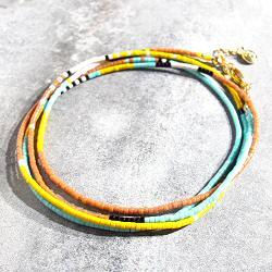 Bali Temples bracelet 4tours perles turquoises jaune