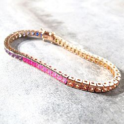 Bali Temples bracelet rainbow strass XL plaqué or rose
