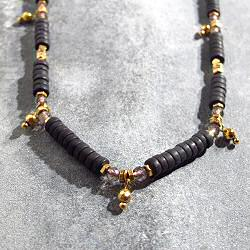 Bali Temples collier Lava perles noires et billes
