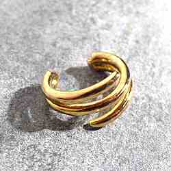 Bali Temples earcuff 10 Triple Slider plaque or jaune
