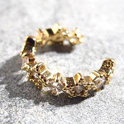 Bali Temples earcuff 10 Etoile strass clear plaque or jaune
