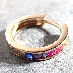 Bali Temples huggie plaqué or rose strass rainbow 15mm