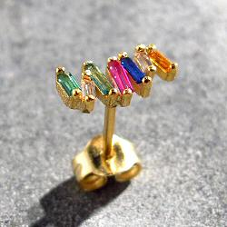 Bali Temples BO stud Wave argent plaqué or strass rainbow