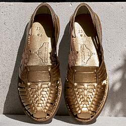 Chamula sandales cuir tresse bronze mordore made in mexico