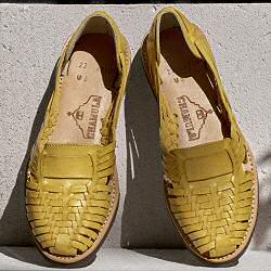 Chamula sandales cuir tresse jaune made in mexico