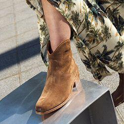 Elia Maurizi boots santiag cowboy daim brown