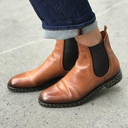 Elia Maurizi boots plates et clous 9129 cognac cuir