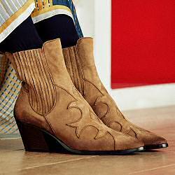 Elia Maurizi santiag motif decoupe daim sable