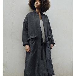 Elsa Esturgie manteau Damasse anthracite