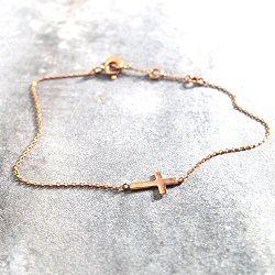 Feidt bracelet croix or rose 9k