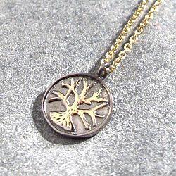 Feidt collier medaille Arbre or jaune 9k bicolore