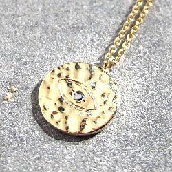 Feidt collier medaille Eye or jaune 9k