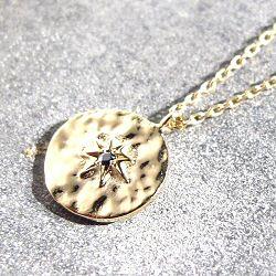 Feidt collier soleil medaille martellee saphire gris or jaune 9k Ibiza
