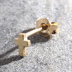 Feidt stud mini croix or jaune 9k