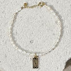 Hermina bracelet Eye Tag Pearl