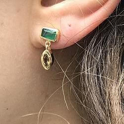 Louise Hendricks stud Dune onyx vert et citrine plaque or
