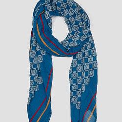 Lovat & Green foulard coton bleu Cells