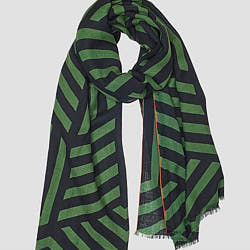 Lovat & Green foulard laine Cubes vert