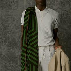 Lovat & Green foulard homme laine Cubes vert