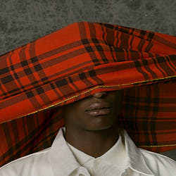 Lovat & Green foulard homme laine Plaid rouge