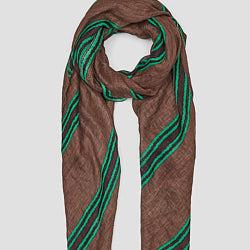 Lovat & Green foulard 100% lin marron Lima