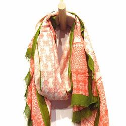 Lovat & Green foulard Mosaique rose kaki
