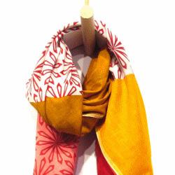 Lovat & Green foulard orange rouge flower