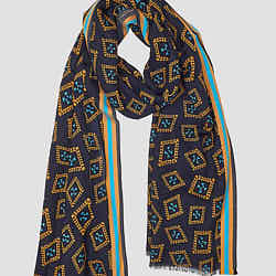 Lovat & Green foulard laine Pictures Navy