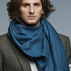 Lovat & Green foulard homme laine Tissé petrol