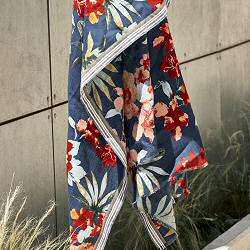 Lovat & Green foulard coton bleu Alice fleurs