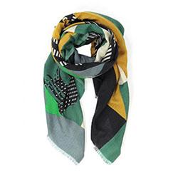 Ma Poesie foulard homme laine graphique vert Horse