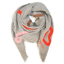 Ma Poesie foulard laine graphique gris Leon