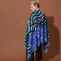 Ma Poesie foulard laine graphique vert Marquises