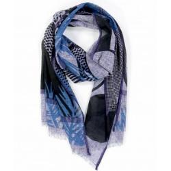 Ma Poesie foulard bleu coton Palme
