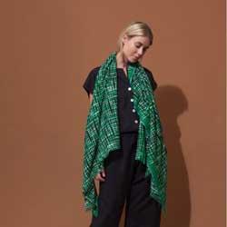 Ma Poesie foulard laine graphique vert Retro
