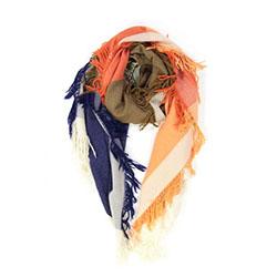 Ma Poesie foulard laine graphique orange kaki Susie